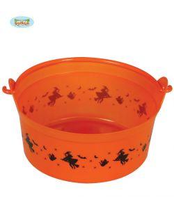 Orange Halloween trick or treat spand i plastik med hank.