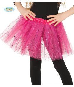 Hot pink tylskørt til børn.