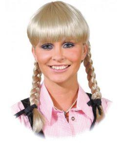 Paryk blond med fletninger.