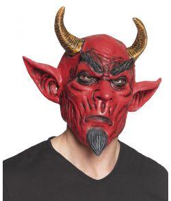 Uhyggelig Djævle maske i latex med spidse ører og horn.