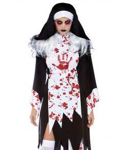 The Nun - Blodigt nonne kostume med revet blodig kjole og kappe.