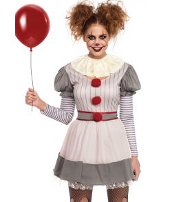 Halloween klovne kostume med kjole med pom pom detajler og krave til Pennywise udklædningen.