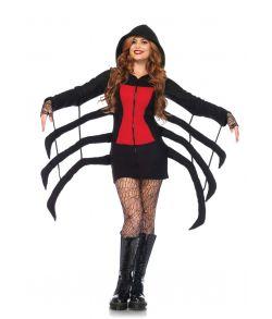 Blødt edderkop kostume med fleece kjole med hætte og edderkoppeben.
