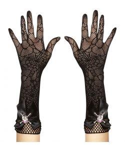 Spindelvæv handsker til haloween udklædning.