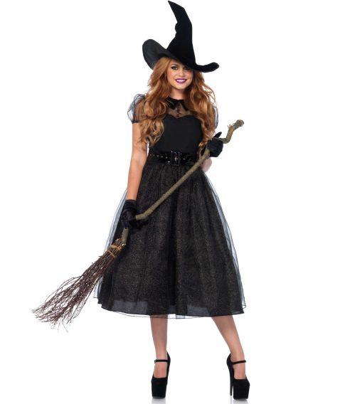 Hekse kostume med lang kjole med organza lag, bælte og heksehat.