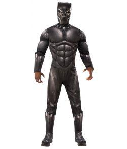 Black Panther kostume med polstret muskler, støvlecovers og maske.