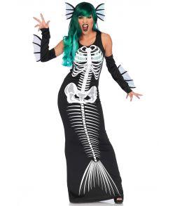 Havfrue skelet kostume med lang sort kjole med skelet motiv og hårbøjle.