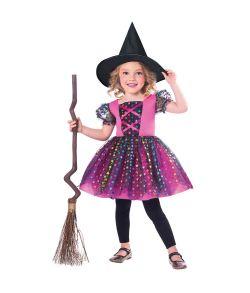 Flot lille heksekostume med kjole med stjerner i alle farver og heksehat.