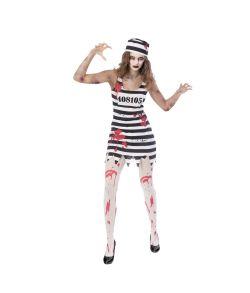 Billigt zombie fangekostume med blodig kjole og fangehat.