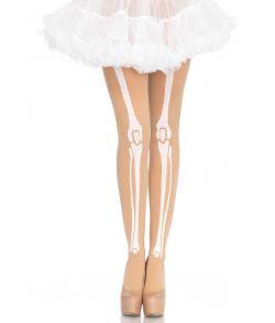 Beige nylon strømpebukser med knogle print.