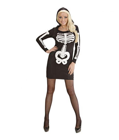 Flot skeletkjole med hætte.