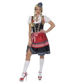Flot Oktoberfest kostume med kjole, bluse og forklæde.