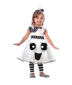 Halloween spøgelse kostume med kjole og hårbøjle til små piger.