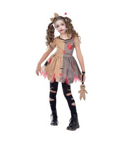Voodoo dukke kostume med kjole og hårbøjle til halloween.
