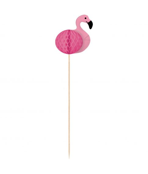 10 stk dekorative flamingo sticks med papirvæv til hawaii festen.