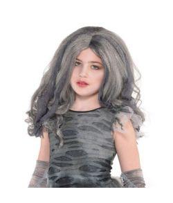 Zombie paryk med gråt hår og stofstrimler til piger.