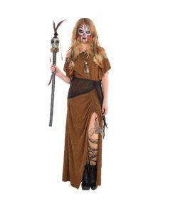 Hekse doktor kostume med kjole og bælte.