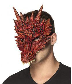Rød djævle drage maske.