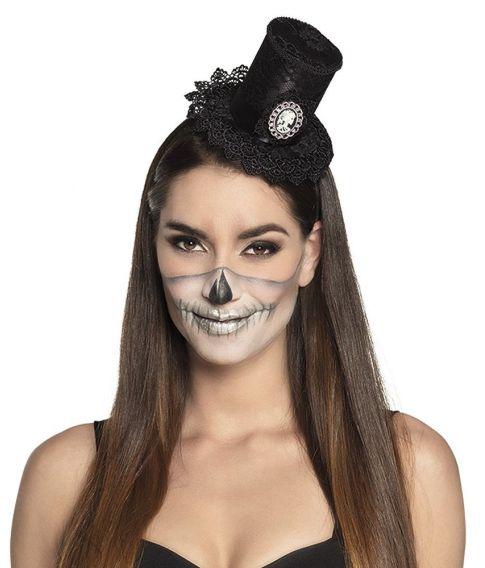 Høj hat med blonde og skelet på bøjle