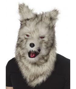 Varulv maske med pels og bevægelig kæbe.