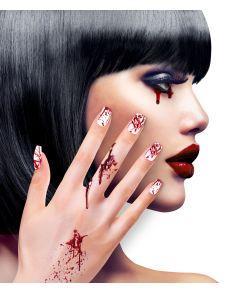 Blodige kunstige negle til halloween.