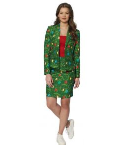 Suitmeister - Billigt grønt jule jakkesæt i med julepynt til damer.