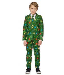 Billigt Suitmeister grønt jule jakkesæt med julepynt til drenge.