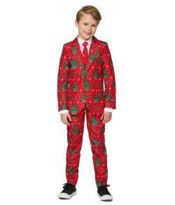 Rødt jule jakkesæt med grantræer med jakke, bukser og slips til drenge.