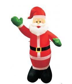 Oppustelig julemand med LED lys til inde- og udendørs brug.