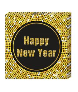 Happy new year Retro servietter 33x33 cm