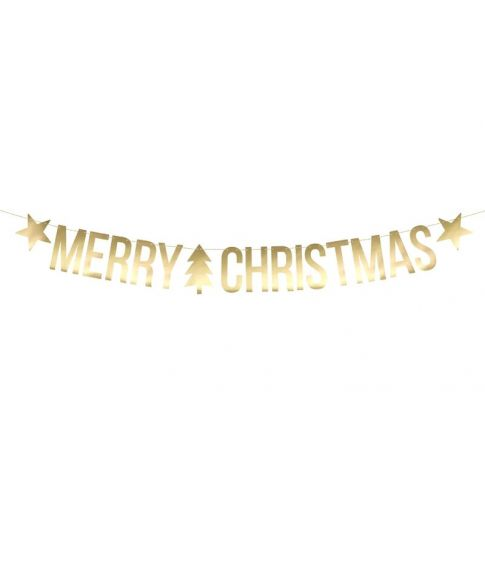 Merry Christmas banner guld