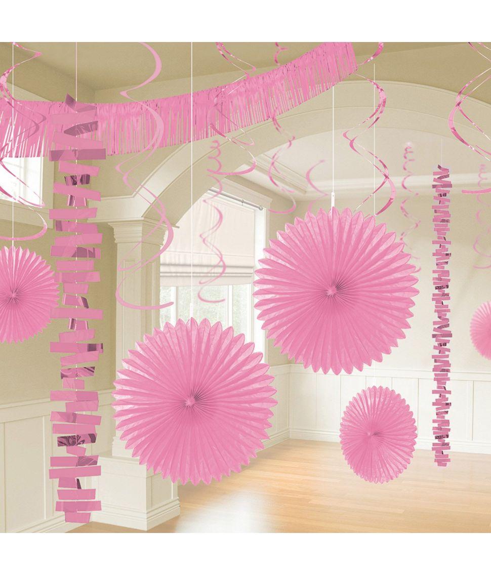 Dekorationssæt lyserød 18 dele