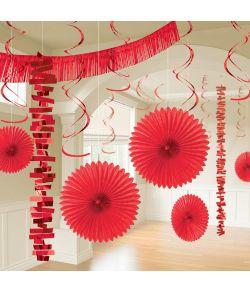 Rødt dekorationssæt med 18 dele