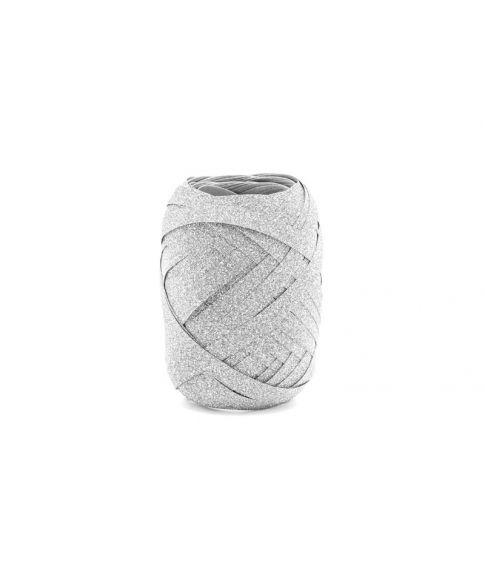 Gavebånd, sølv glitter 10m