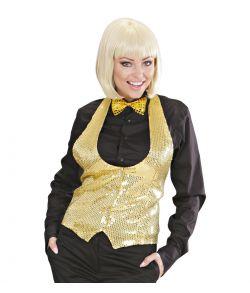 Guld pailletvest dame XL
