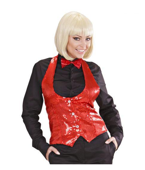 Rød Pailletvest dame