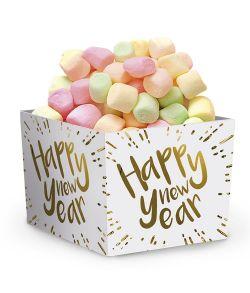 Papbæger til f.eks. slik eller popcorn med Happy New Year guldtryk.
