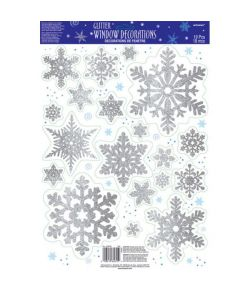 Snefnug glitter Vindues deko