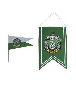 Harry Potter Slytherin banner og flag på pind.