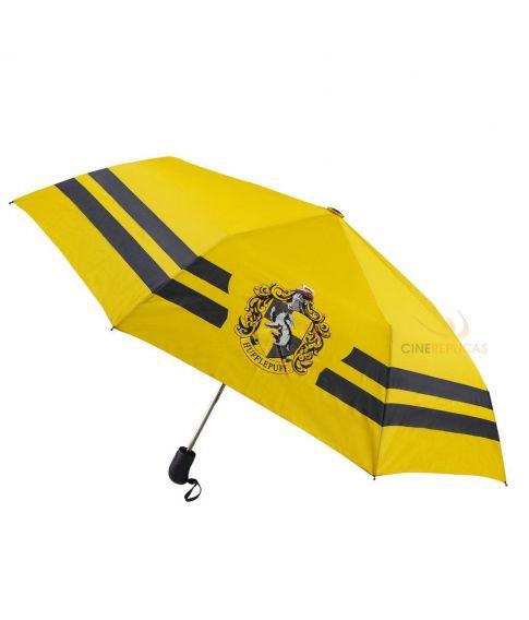 Sammenfoldelig paraply i Hufflepuffs farver og med våbenskjold.