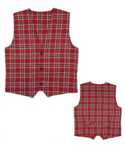 Rød skotskternet vest til skotte udklædningen.