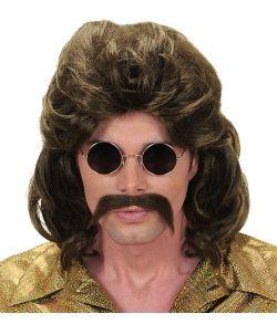Brun paryk med moustache til 70er - 80er udklædningen.