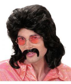 Sort paryk med moustache til 70er - 80er udklædningen.