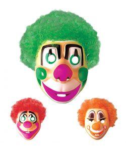 Klovnemaske i pvc med grønt, rødt eller orange hår.
