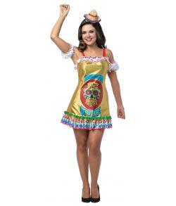 Tequila kjole med sugar skull print.