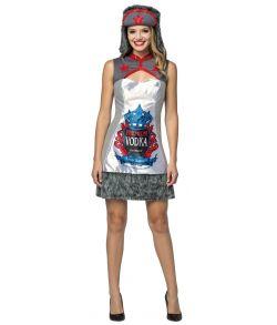 Russisk Vodka kjole med røde pailletter,