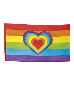 Regnbue flag i polyester med tunnel til snor.
