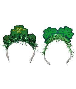 Sankt Patricks dag hårbøjle med grøn folie og papskilt.