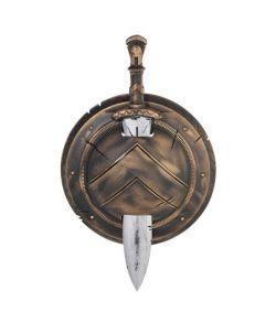Spartan skjold og sværd til kostume.