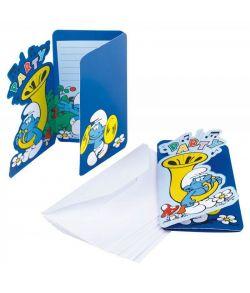 Invitationer med kuverter til Smølfe fødselsdagen.